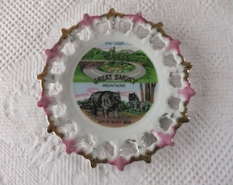 Vintage Great Smoky Mountains Souvenir Plate Decorative Collector Travel Vacation Fairway Japan White with Pink and Gold Cutout Edge