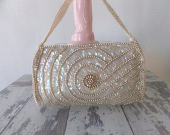 Vintage Ivory Faux Pearl and Sequin Evening Bag Jill Empress Wedding Prom Formal Designer Retro Mid Century