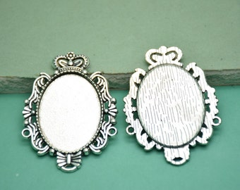 10Pcs 20x30mm inside Antique Silver Plated Cabochon Base frame Base for making resin photo necklaces and pendants