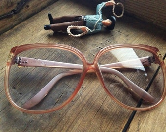 Huge square 1980s eyeglasses, pink plastic frame oversized eyeglasses, Womens light pink vintage frames, nerdy eyewear, indie plastic frames