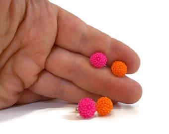 Flower Earrings Studs, Hot Pink and Orange, Surgical Steel Sensitive Ears, Tween Jewelry, Cute Earrings, Summer Earrings, Tween Girl Gift