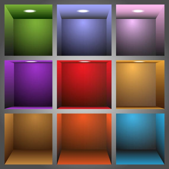 3d Colorful Shelves-T-Shirt-Digital Clipart-Website-Gift Tag-Gift Cards-Clipart-Background-Banner-Notebook-Scrapbook.