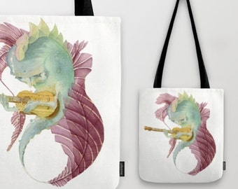 Fish Totes or Carry All Pouches////Watercolor/Acoustic Guitar/Musician/Music/Melancholy/Whimsical/Purse/Bag/Accessory Pouch