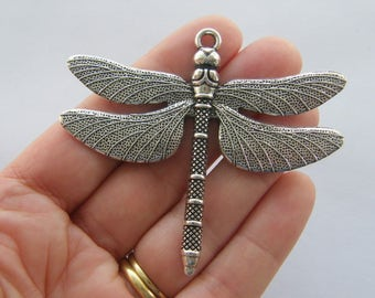 1 Dragonfly pendant antique silver tone A215