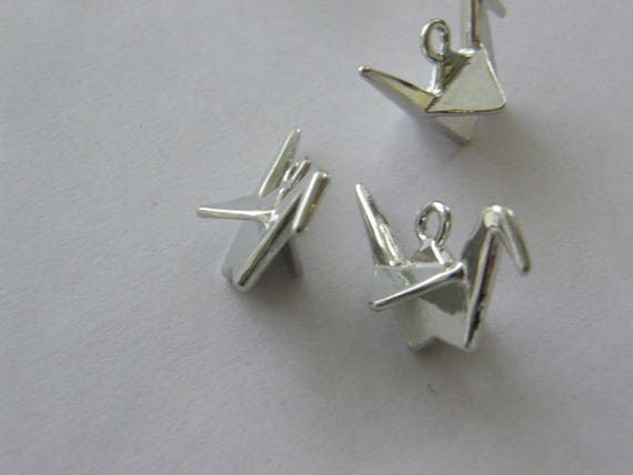 5 Paper origami bird  crane charms silver tone PT105
