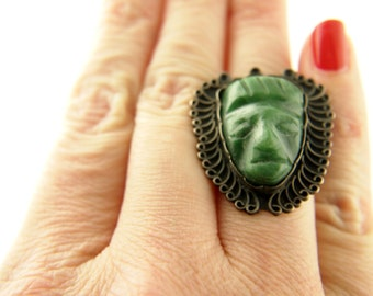 Carved Mask RIng - Sterling Silver - Mexico - Vintage