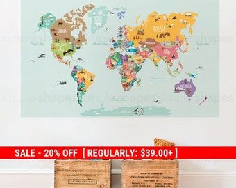 Holiday Sale - World Map Decal, Countries of the World Map, Kids Country World Map Poster,  Peel and Stick  Poster Sticker, World Map W1126