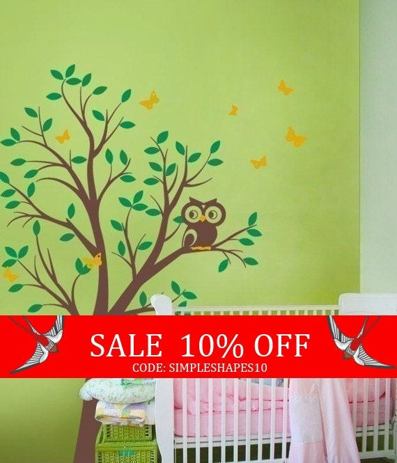 Sale - THE BUMP FEATURED - Tree with Owl and Butterflies Decal Set - nursery wall decal