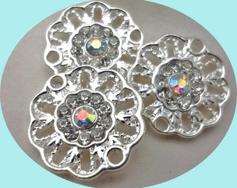 6pcs - rhinestone  - round flower connectors - link - pendant - 2 hole - 2 loop - silver plated - bling - filigree