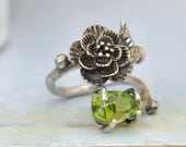 ROSE RING,  antiqued handmade sterling silver rose flower and leaf ring with Peridot, rough gemstone, organic stone, August birthstone