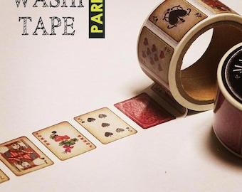 Antique masking tape - Vintage playing cards - 30mmW - Washi
