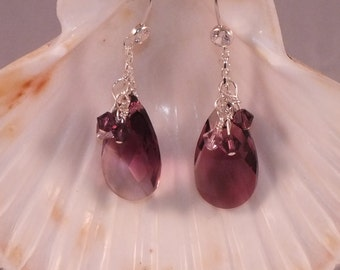 Sterling Silver Earrings With Amethyst Swarovksi Crystals