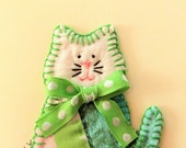 Cat card, handmade birthday card, hand stitched greeting, green vintage quilt, OOAK, cute cat card, birthday card, note card, paper goods