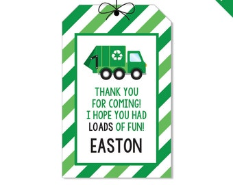Garbage Truck Party - Personalized DIY printable party favor tags