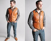 Vintage 1970s Leather Vest- 1970s 70's Auburn Leather Western Country Biker Menswear Men's Clothing - Men's Medium