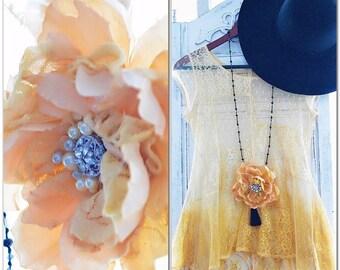Fall boho rose brooch, shabby lace mustard flower pin, rustic, bridal pin, farm girl, romantic french Marie Antoinette, true rebel clothing