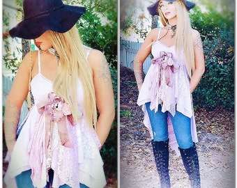 Stevie Nick style lace tunic top, Gypsy soul lace shirt, Country shabby romantic lace dress, Gifts for her True rebel clothing