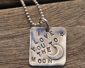 """I LOVE You To The MOON rustic hand stamped STERLING Pendant on 18"""" ss Ball Chain with Moon Soldered onto Pendant darkened oxidized Necklace"""