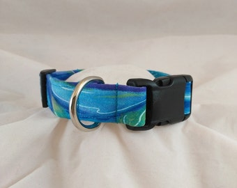 Abstract Ocean Dog Collar, Abstract Ocean Cat Collar,