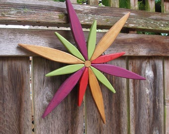 Colors Come Alive with Starburst Spark - Garden Wreath - Wall Hanging - Door Wreath - Fence Decor - Outdoor Art by Laughing Creek