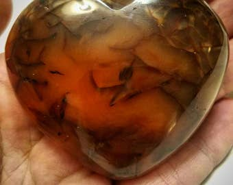 Carnelian Heart manifeststion stone in chacedony agate family  courageous motivating