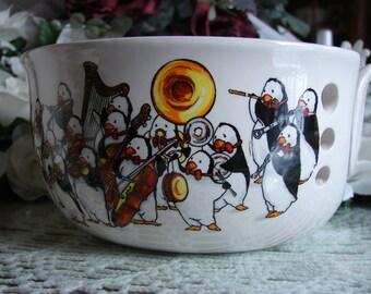 Penguin Symphony! Large Ceramic Yarn Bowl / Yarn Holder