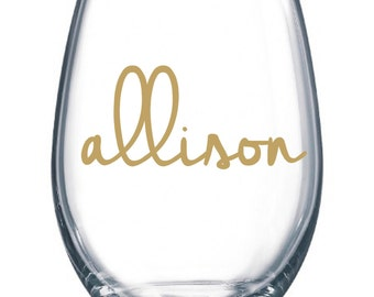 DIY Personalized Name Wine Glass Kit for 11 Glasses Wedding Party * Decals * Bride * Bridal Party * Rehearsal Dinner * Easy Project Save