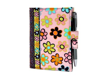 Flowers and Stripes Little List Keeper, Mini notepad clutch, Day planner portfolio, Teacher gift, Notepad, Coupon holder, Purse notepad