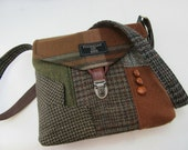Crossbody bag, Crossbody Purse, Recycled Crossbody Purse, Handbag, Recycled wool, iPhone pocket,Recycled mens suit coat, Ready to Ship