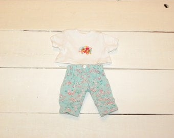Flower Patterned Pants and White Tshirt - 12 inch doll clothes