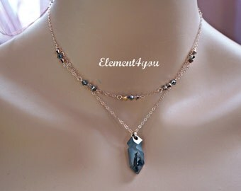 Swarovski Kaputt Pendat Silver Night Rose Gold Necklace Jewelry 2 Layers Chain Delicate 14k Rose Gold Filled Necklace Crystal Pendant