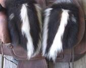 Skunk fur mittens with red fleece liner handmade X X-large