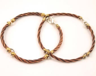 Copper, brass and silver cable bracelet