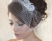 Wedding Birdcage Veil with Crystal rhinestone brooch VI01 Comb or Headband.