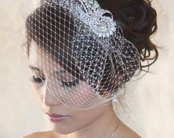 Wedding Birdcage Veil with Crystal rhinestone brooch VI01 Comb or Headband. Ready to ship.
