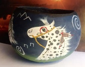Gourd bowl Indian Ponies Native American symbols and horses
