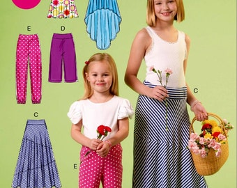 Girls' High Low Skirt Pattern, Little Girls' Elastic Waist Pants Pattern, Girls' Long Skirt Pattern, McCall's Sewing Pattern 7113.