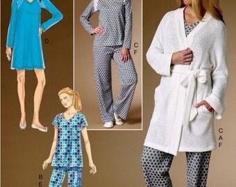 Knit Pajamas Pattern, Easy Knit Nightgown Pattern, Wrap Robe Pattern,  Butterick Sewing Pattern 6428