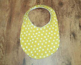 Yellow Polka Dot Organic Cotton Baby Bib