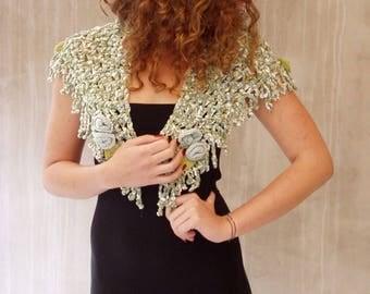 Pastel crochet cottage chic shawl roses triangular lace scarf feminine rustic wedding Pale blue Pale green