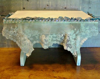 French Footstool - Foot Stool - French Lace - Farmhouse Home Decor - Vintage Trims - Hand Painted Chalkpaint -Rhinestones - Romantic Chic