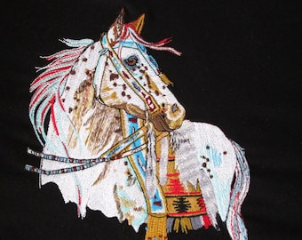 Mystic Warrior Fantasy Native Large Horse Embroidered Quilt Fabric Block