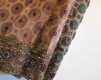 Wearable Art / Golden Beaded Dress / Vintage India Beaded Dress / Silk Beaded Dress / Sequins /  Mirrored Dress / India Wedding Dress