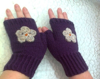Fingerless  gloves  blue  with embroidery  free  shipping