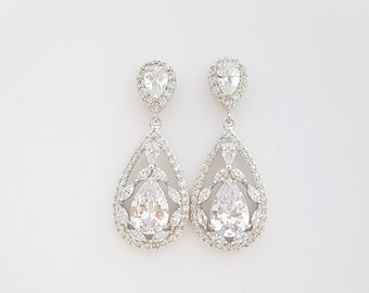 Crystal Teardrop Earrings Wedding Bridal Jewelry Silver Clear Cubic Zirconia Bridal Earrings Crystal Wedding Jewelry, Essy
