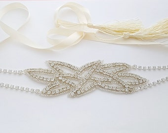 Rhinestone Bridal Headband Wedding Crystal Head Piece Wedding Headband with Ribbon Rhinestone Applique Bridal Hair Piece, Paige