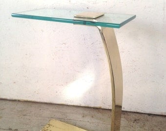 Brass & Glass Side Table by Design Institute of America Vintage DIA Brass Glass Drink Stand End Table