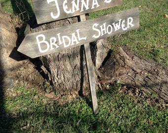 Personalized Wedding Shower Sign on Stake Barn Wood Western Rustic Bridal Custom Name