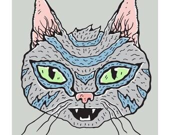 Grey Striped Wiggly Kitty Cat Art Print