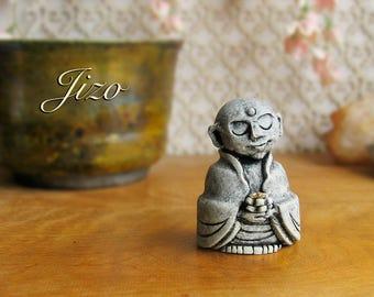 Jizo Votive Statue - Guardian of Children, Women, Travelers and All Voyagers - Bhuddist Bhodisattva Icon -  Handmade by Bewilder and Pine